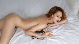 women, brunette, red lipstick, boobs, in bed, ass, closed eyes, pillow, nude, black bras