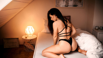 women, kneeling, ass, lamp, in bed, back, hoop earrings, red lipstick, black lingerie