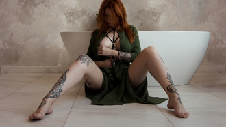 women, tattoo, green dress, redhead, on the floor, sitting, boobs, pierced nipples, spread legs, wall