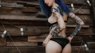 women, ass, black lingerie, eyeliner, sideboob, light bulb, tattoo, dyed hair