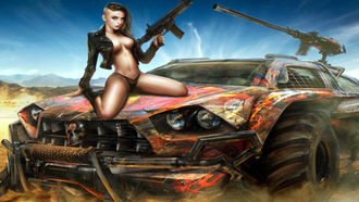 woman, sexy, car, weapon