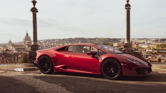 lamborghini, huracan, car, red