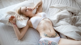 blonde, white bra, tats