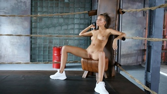 katya clover, clover, mango, caramel, mango a, brunette, boxing gym, naked, boobs, tits, nipples, shaved pussy, labia, spread legs, running shoes, hiq