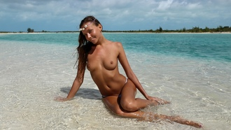 katya clover, clover, beach, tits, sea, mango a, caramel, legs, nipples, boobs, tanned, topless, wet, smile