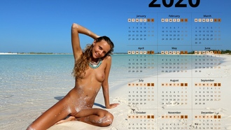 katya clover, clover, mango, caramel, mango a, brunette, beach, tanned, naked, boobs, tits, nipples, shaved pussy, labia, spread legs, smile, 2020 calendar, hiq, calendar, wet