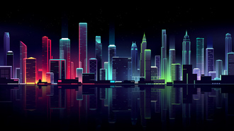 pixel art, pixel city, city, neon, night