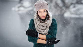 ngelina etrova, model, girl, winter