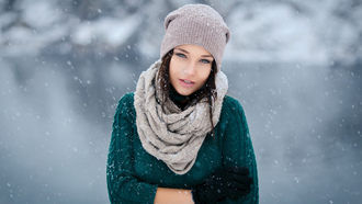 ngelina etrova, girl, woman, model, winter