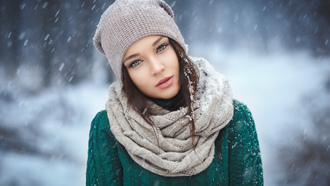 ngelina etrova, model, girl, woman, winter