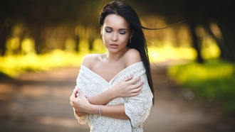 ngelina etrova, model, girl, woman, autumn