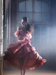 девушка, платье, зал, стиль, красота