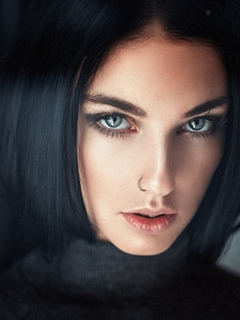 девушка, модель, взгляд, портрет, брюнетка