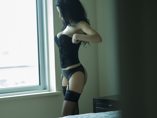 девушка, модель, позирует, в белье