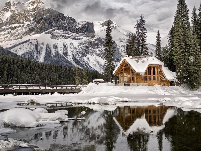 природа, пейзаж, горы, снег, воды, облака, деревья