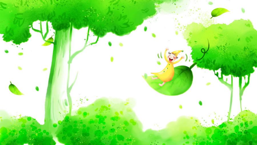 Детские обои гном листва дерево