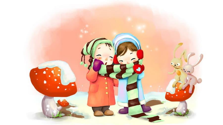 Зима дыхание шарфик снежинки грибы