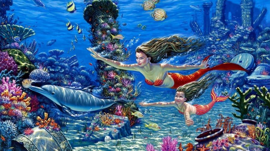 Подводный мир дельфины кораллы на