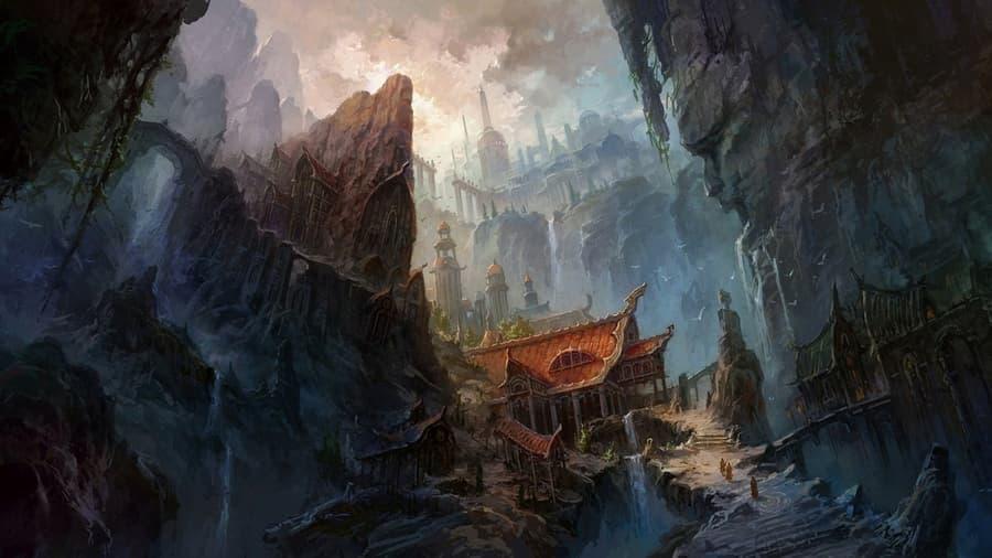 Китай скалы водопад лестница здания