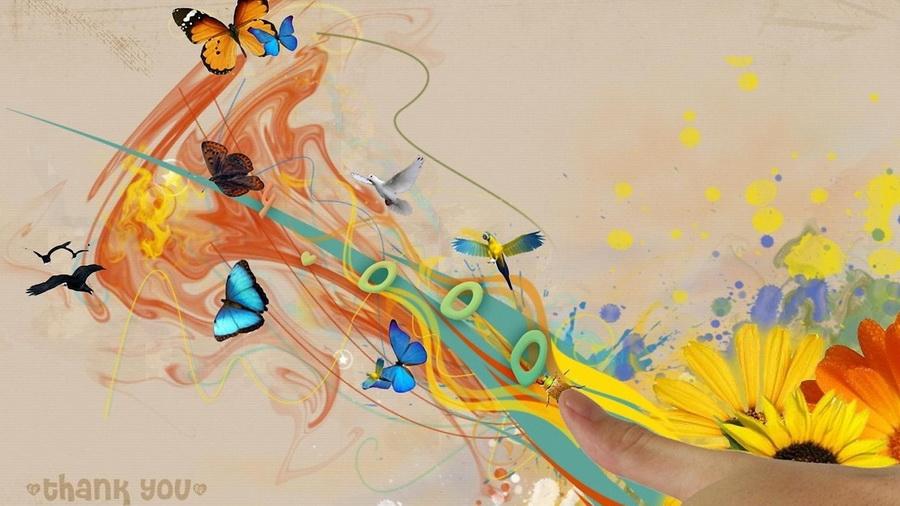 Бабочки абстракция на рабочий стол