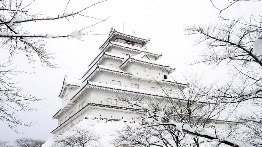 Обои замок сад япония снег зима на