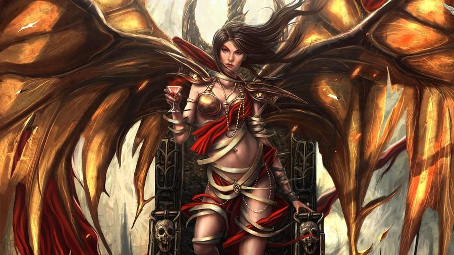 Девушка демон арт черепа bryan sola трон