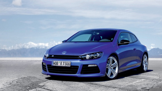 volkswagen scirocco, ���� ����, ���, ����, �����, symbol, ����, photo, �������, mountains, ������, ����, clouds, ������, blue, ������, cars, desert, auto wallpapers, sky, road, tyres