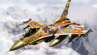коната идзуми, Lucky star, истребитель, f-16, fighting falcon
