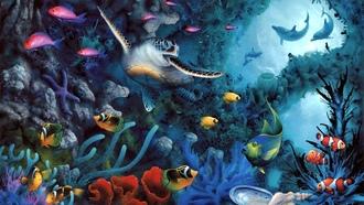 Дно черепаха рыбы арт дельфины