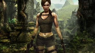 lara croft, джунли, Лара, девушка, пистолеты, tomb raider