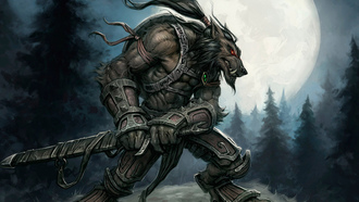 worgen, ����, world of warcraft, moon, ����, ������