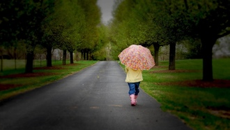 childhood, sadness, Little girl , umbrella, road, , children, child, nature, trees, lonely