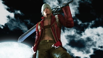 sword, clouds, game wallpapers, hill, night, dante, Devil may cry 3, moonlight, demon, dmc