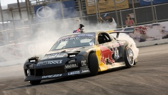 drift, mad mike, wallpapers, ����������, ����, drift, mazda, Car, rx7, redbull