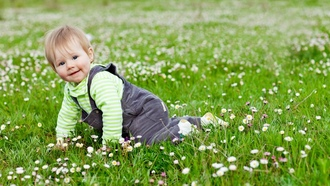 Baby, children, happy, grass, cute, play, child, joy, kid, �������, garden, flowers, lovely
