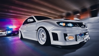 in, cops, sexy, Car, stance, style, impreza, speed, white, wrxsti, jdm, subaru, tuning, wallpapers