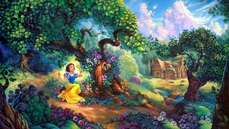 forest, tom dubois, snow whites, cartoon, painting, walt disney, Snow whites magical forest