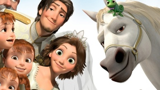 Tangled 2, tangled ever after, crown, children, wedding, pascal, bride, rapunzel, flynn, maximus