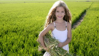 children, child, маленькая девочка, happiness, childhood, green field, Little girl
