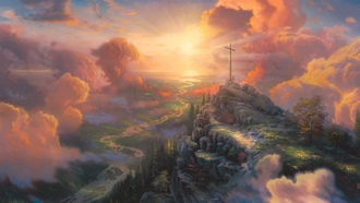 light, painting, cross, sun light, thomas kinkade, The cross