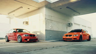 Bmw, orange, carbon, 1m, m3, бмв, fire