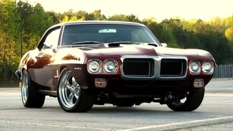 Pontiac, 1969, muscle car, понтиак, dark red, sunset, фаербёрд, firebird