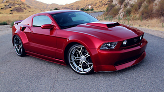 tuning, Ford mustang gt, wide body kit, rims, red