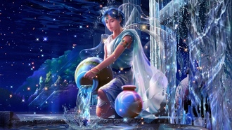 yutaka kagaya, zodiac, beautiful dreams, Cg wallpapers, aquarius, starry tales, fantasy, stars