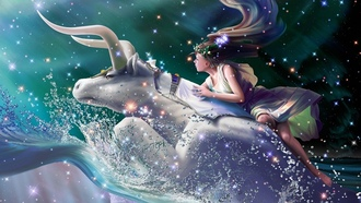 zodiac, flight, yutaka kagaya, dreams, stars, fantasy, starry tales, taurus, Cg wallpapers