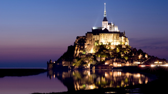 castle, �������, ���������, France, island, normandy, mont saint-michel