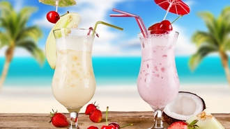 coconut, strawberries, food, glasses, cocktails, cherries, Cocktail, fruits, summer, melon