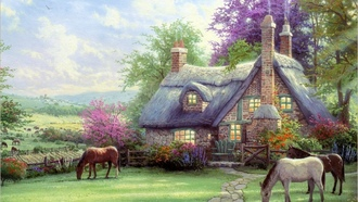 thomas kinkade, house, painting, A perfect summer day, томас кинкейд, horse