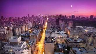 sunset, закат, moon, нью-йорк, usa, east side, nyc, New york