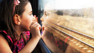 sadness, lonely, cute, children, train window, reflection, child, Pretty little girl
